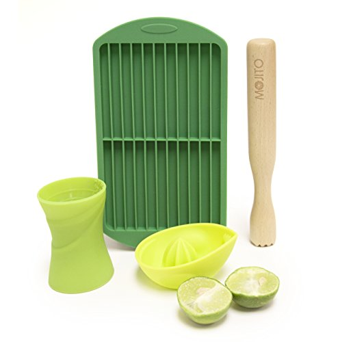 (Mojito Kit Cocktail Making Set - By Bar Amigos Includes Lime Citrus Juicer, 30ml 45ml Double Jigger, Mint Leaves Sugar Wood Muddler & Silicone Crushed Ice Tray Mold | For White Rum and Soda | 4pcs)