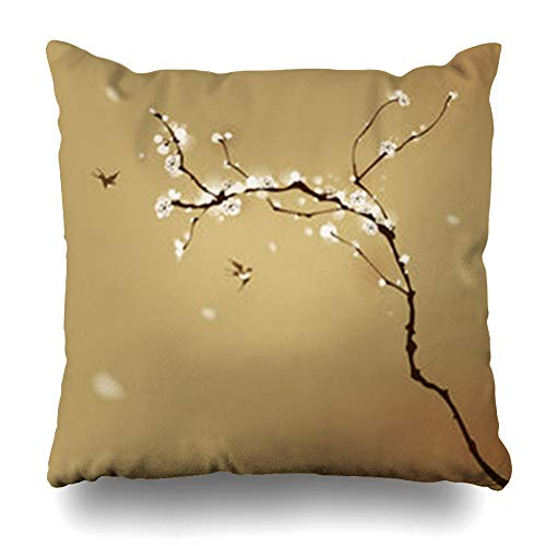 Alfredon Throw Pillow Covers Design Chinese Oriental Painting Plum Blossom Spring in Style Cherry Tree Pattern Japanese Bird Pillowcase Square Size 20 x 20 Inches Home Decor Cushion Cases