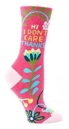Blue Q Socks, Womens Crew,Hi I Dont Care Thanks,Womens Shoe Size 5-10 ()
