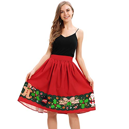 WOCACHI Final Clear Out Christmas Skirts Womens Vintage A-Line Elastic High Waist Xmas Mini Skirt Bodycon Vintage Santa Long Sleeves Evening Prom Costume Maxi Knee Length (Red_b, Medium)
