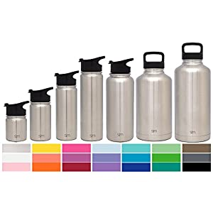 Simple Modern 64oz Summit Water Bottle + Extra Lid - Vacuum Insulated Stainless Steel Big Wide Mouth Hydro Travel Growler - Powder Coated Double Wall Large Flask - Simple Stainless