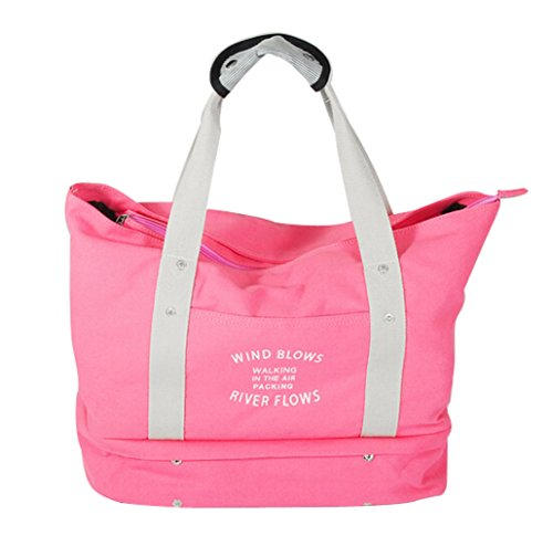 Ecokaki(TM) Large Capacity Travel Duffle Bag Luggage Shoulder Handbag Sports Gear Gym Bag for Outdoor Activities, Pink by Ecokaki