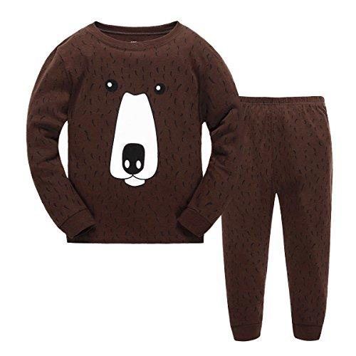 Babytree Kids Toddler Clothes Cartoon Brown Bear Costume 100% Cotton Pajamas