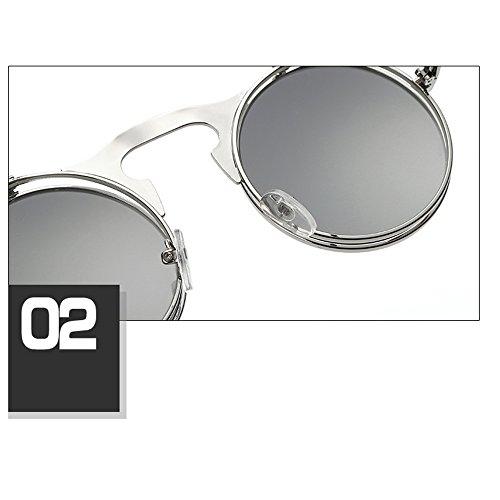 UV400 HuaYang Nouveau Rond Frame métal lunettes Style Argent Up en Verres soleil Mirror bleu de Spectacles Monture Steampunk 8 Couleurs Flip aAwqr4a