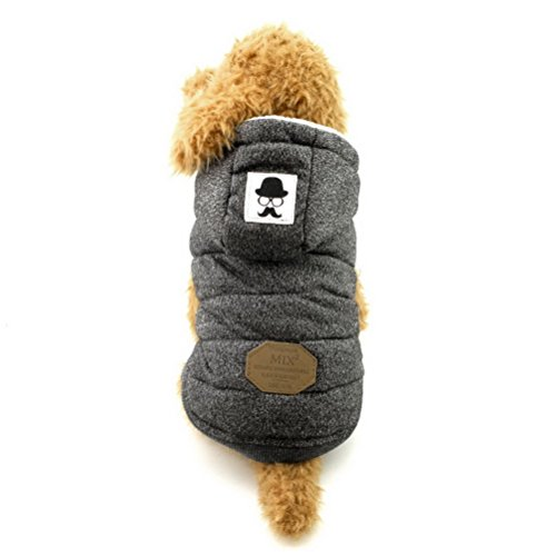 ZUNEA Cotton Fleece Small Boy Dog Jacket Hooded,Puppy Cat Dog Hoodie Winter Coat Warm Pet Dog Vest Parka Clothes Apparel Gray M