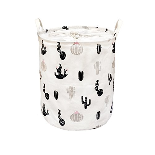 OLIA Home Round Collapsible Waterproof Coating Laundry Hamper Foldable Laundry Bin With Handles & Drawstring Closure(Black Cactus) by OLIA Home