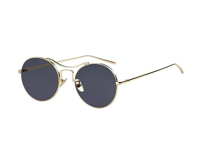 e30ec97eb Hero Korean version of the reflective metal round frame sunglasses Ms.  retro round sunglasses (