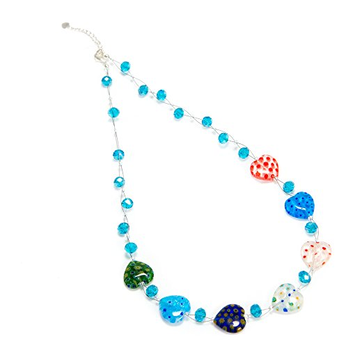 (Chuvora Multi-Colored Venetian Murano Glass Millefiori Heart Shaped Crystal Beads Necklace 20-22