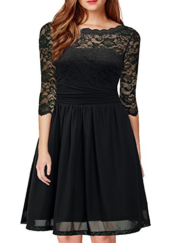 DILANNI Women Round Neck Lace Long Sleeve Formal Bridesmaid Wedding Black Dress