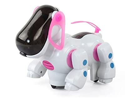 Cookids Robotic Electronic Walking Pet Dog with Music and Light/ Puppy Dog Kids Toy/ Children's Educational Toy (Pink)