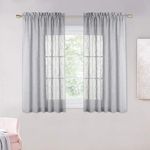 NICETOWN Linen Like Sheer Curtains - Country Style Semi Voile Small Window Drapes Privacy with Amount of Light for Basement/Farmhouse (Grey, 52