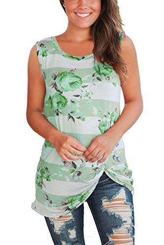- Womens Summer Sleeveless T-Shirt Tops Round Neck Twist Knot Green S