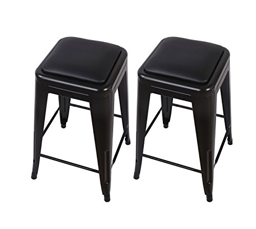 """GIA M01-24BK_PU Counter Height 24"""" Black Stool, 2-Pack Review"""