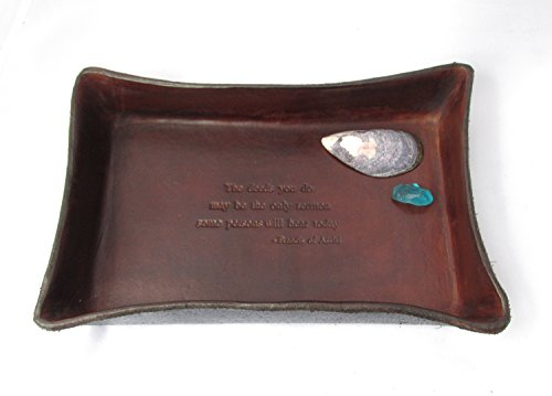Religious Gift. St. Francis of Assisi Quotation Leather Tray for Confirmation or First (Leather Stash Tray)