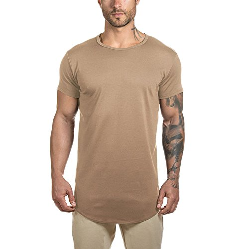 Short Sleeve Workout Gym Athleisure T Shirts for Men Hipster Longline Rounded Hem Tee Top (S, Style 1 Khaki)