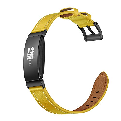 Elobeth Compatible Fitbit Inspire & Inspire HR Band Genuine Leather Band Wrap Bracelet Strap Designed Thread for Fitbit Inspire & Inspire HR Fitness Tracker (Yellow)