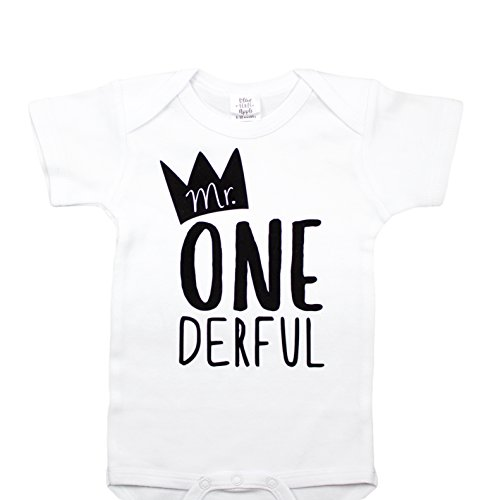 Mr One-Derful Baby Boys 1st Birthday Onesie First Birthday Onesie for boys, White, Onesie, 12-18 mo. Short sleeve