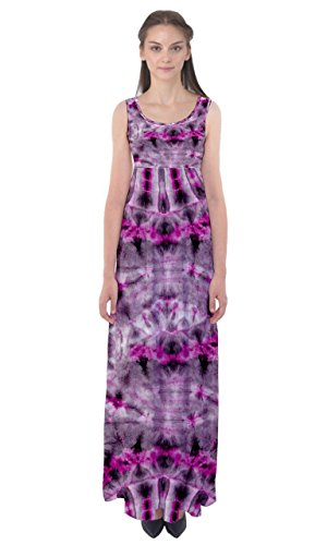 (CowCow Womens Pink Gray Tie Dye Empire Waist Maxi Dress, Pink Gray Tie Dye - 2XL )