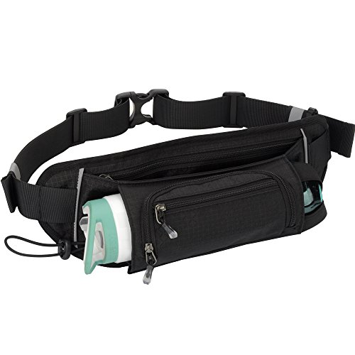 Sport Waist Bag Fanny Pack Black Waterproof, with Water Bottle Holder, for Men Women Running Hiking Cycling Climbing by JINGHAO (Image #7)