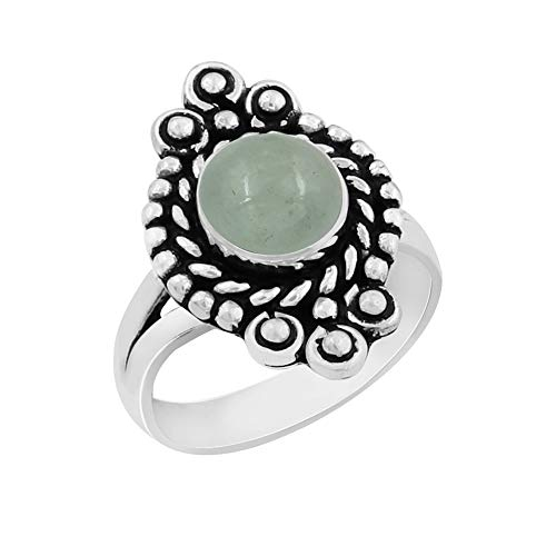 (Genuine Round Shape Aquamarine Solitaire Ring 925 Silver Plated Vintage Style Handmade for Women Girls (Size-9))