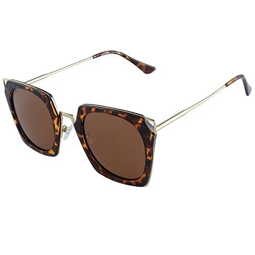 Duco Polarized Square Mod Sunglasses Cat Eye High Pointed Rimmed Fashion Eyewear Geometric Polarized Sunglasses For Women W001(Tortoise Frame Brown Lens)