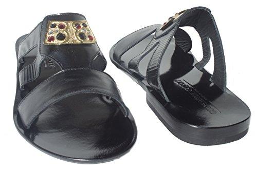 Giovanni Conti 0256-01 Italienska Mens Svarta Sandaler Med Ornament