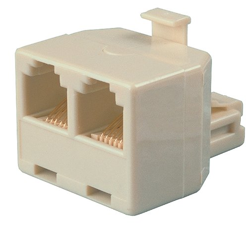 Allen Tel AT267B T Two 4 Conductor 6 Position Jacks and One 4 Conductor 6 Position Plug Adapter, Ivory