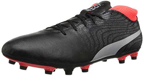 (PUMA Men's One 18.4 FG Soccer-Shoes, Puma Black-Puma Silver-Red Blast, 7 M)