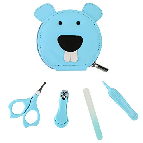 Livememory Baby Manicure Kit Infant Nails Clipper Set Baby Grooming Kit with Baby Nail Scissors, Nail File, Nasal Tweezers - 4 Piece - (Baby Care Set)