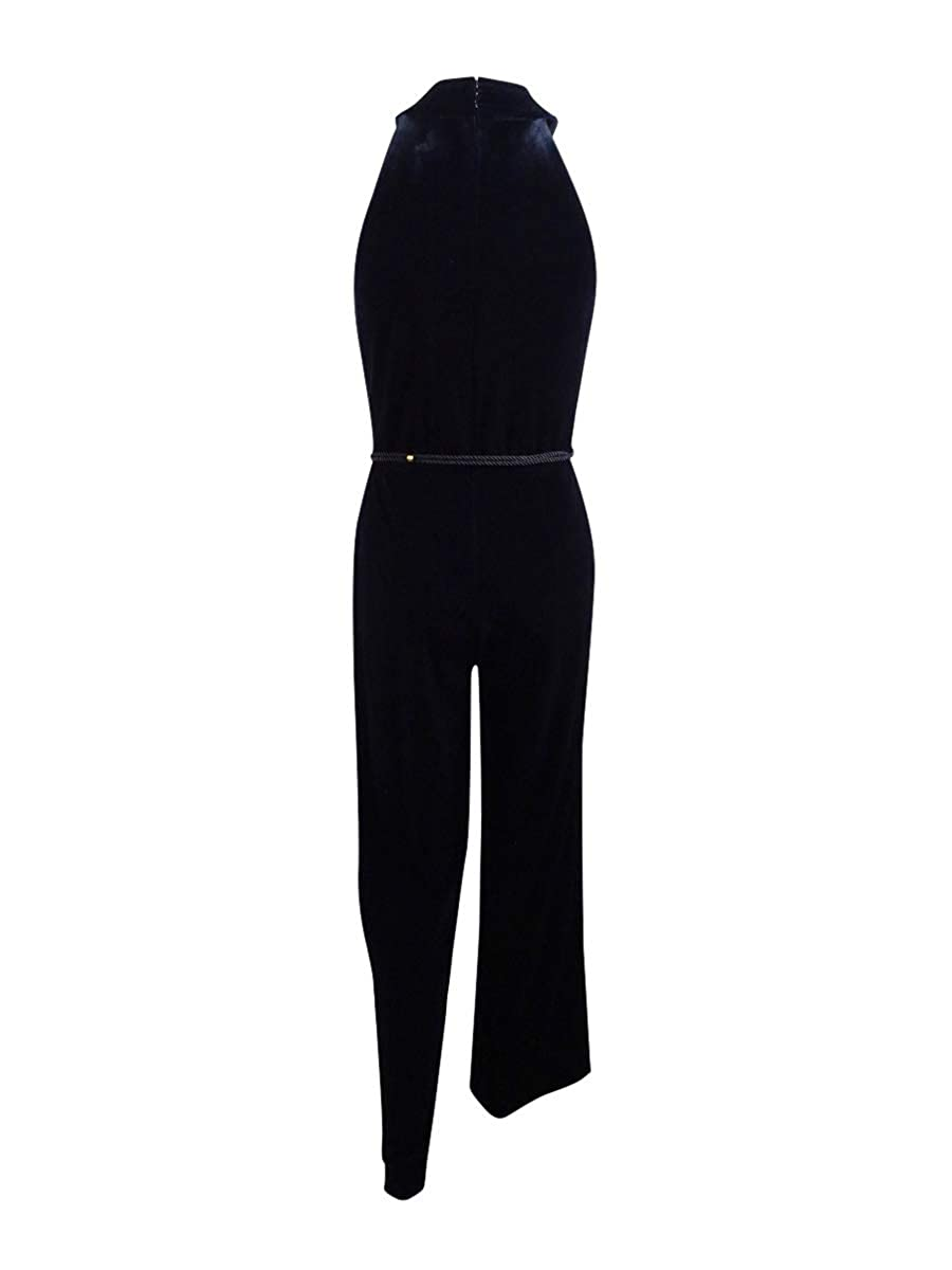 e890b88fac7a Amazon.com  Tahari by ASL Petite Women s Petite Velvet Halterneck Jumpsuit  Black 6  Clothing
