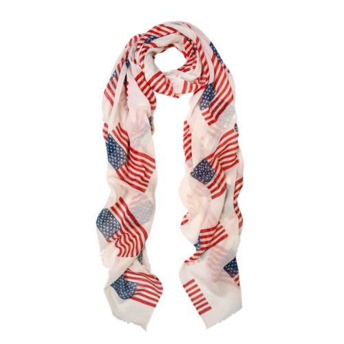 Large-Vintage-Off-White-USA-US-American-Flag-Print-Scarf-Shawl-Wrap