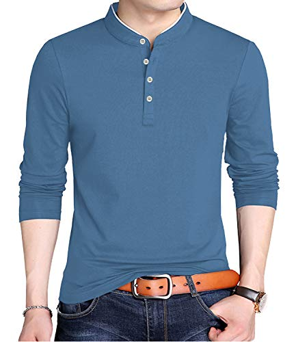 KUYIGO Men's Casual Slim Fit Shirts Long Sleeve Polo Shirts Cotton Shirts 2XL Blue