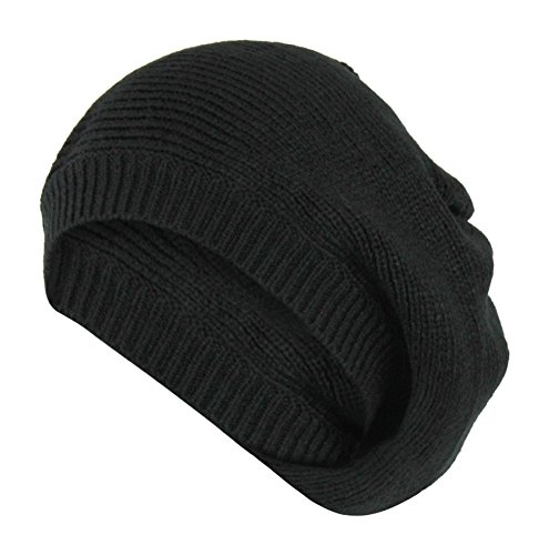 Black Vintage Ribbed Knit Beret Hat, Slouchy Winter Beanie Cap - Soft Stretch