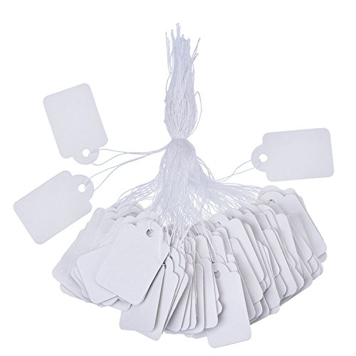 Outus White Marking Tags Price Tags Price Labels Display Tags with Hanging String, 500 Pack, 35 x 22 mm