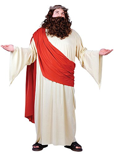 FunWorld Men's Plus Jesus Costume, Cream/Red, Plus Size Costume ()