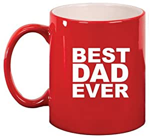 Red ceramic coffee tea mug best dad ever red for Best coffee mugs for home