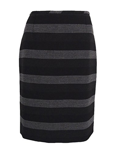 Striped Woven Skirt (Tahari Women's Woven Striped Pencil Skirt (2, Black/Grey))