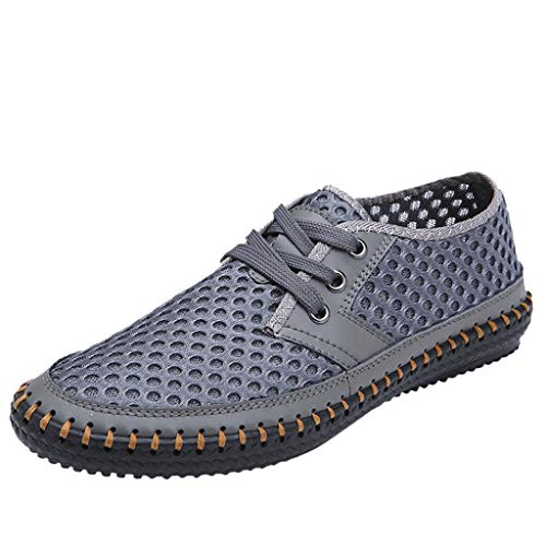 - Men's Breathable Comfortable Shoes Stitching Sneakers Casual Driving Shoes Lace up Driver Moccasins by Lowprofile Gray