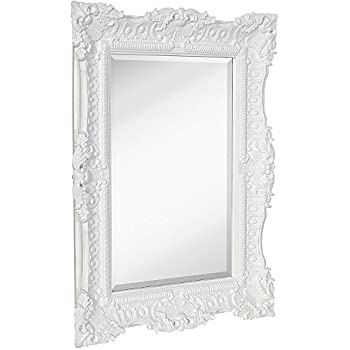 Hamilton Hills Large Ornate White Gloss Baroque Frame Mirror | Aged Luxury  | Elegant Rectangle Wall