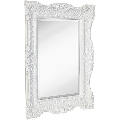 Hamilton Hills Large Ornate White Gloss Baroque Frame Mirror | Aged Luxury -