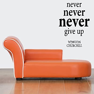 Wall Vinyl Sticker Decals Mural Design Art Never Give up Winston Churchill Quote Sign Mural Words 787