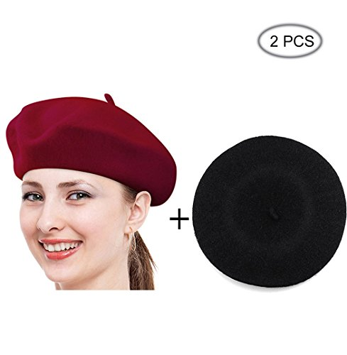 Raylarnia Beret Hat Of French Vintage Style, Solid Color Hat 15colors, Elegant Soft Stretch Wool Cap, Lightweight Classic Boinas Winter Beanie-Black/Burgundy
