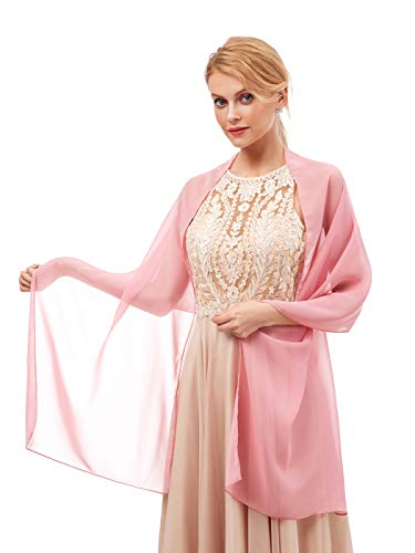 Women's Fashion Chiffon Wraps Scarve Shawls for Bridal Evening Party Dusty Pink
