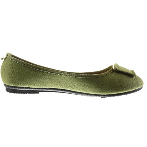 Women's Shoes Angkorly 1 Green Flat Slip Flat Fashion Braided Shoes cm Metallic Ballet on Heel 4qpFpdfw