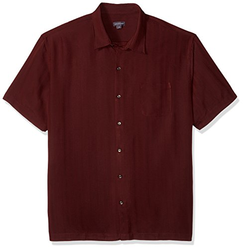 Van Heusen Men's Air Short Sleeve Button Down Poly Rayon Stripe Shirt, Legacy Red Syrah, Large