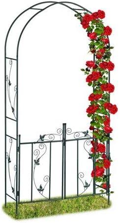 Relaxdays, Verde Arco para Rosas con Puerta, Soporte para trepadoras, Metal, 230 x 113,5 x 36,5 cm