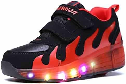 49b738d9094a Boys Girls Light Up Single Wheel Kids LED Roller Shoes Skates Sneakers