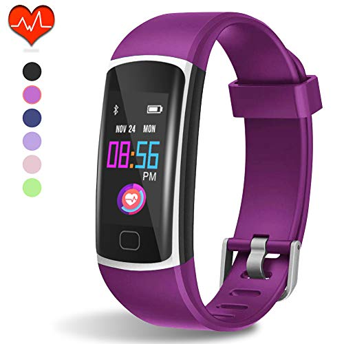 (Fitness Tracker HR, Activity Tracker with Heart Rate Monitor and Sleep Monitor,Waterproof Pedometer, Step Counter, Calories Counter for Android & iPhone (Purple))
