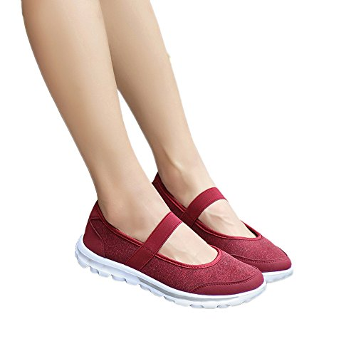 Clearance Sale Shoes For Women ,Farjing Fashion Women Casual Sneakers Fitness Shoes Non Slip Breathable Shoes (US:8.5,Red)