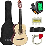 Best Choice Products 38in Beginner Acoustic Guitar Bundle Kit w/ Case, Strap, Digital E-Tuner, Pick, Pitch Pipe, Strings - Beige